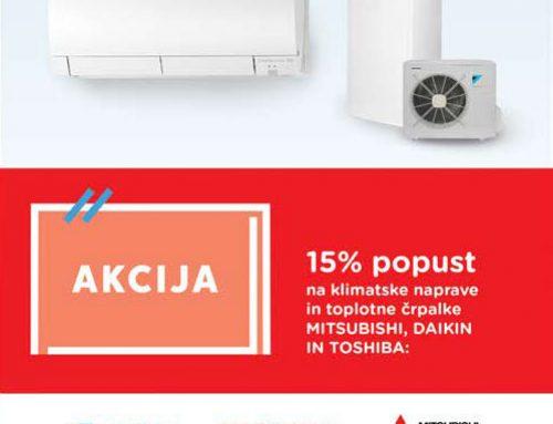 Akcija – 15% popust na klimatske naprave in toplotne črpalke Mitsubishi, Daikin in Toshiba